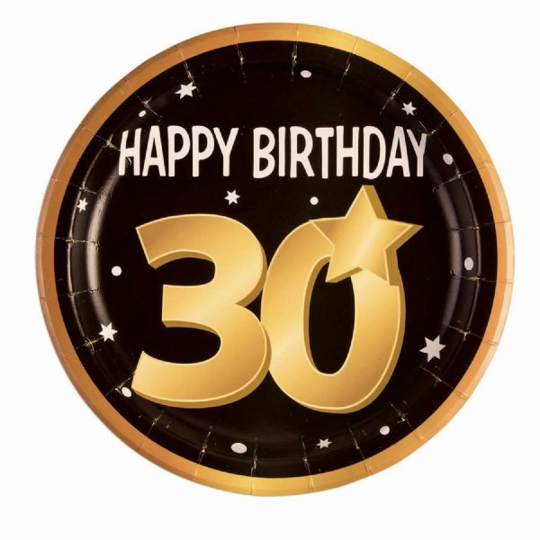 30th Birthday Paper Plates 9( 8 in pkt) Party Tableware